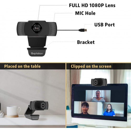 1080P HD Webcam with Microphone, Septekon Streaming Computer Web Camera for Laptop/Desktop/Mac/TV, USB PC Cam for Video Calling, Conferencing, Gaming