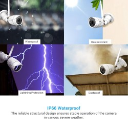 Outdoor Wireless Security Camera, Septekon 1080P Home Surveillance Camera with IP66 Waterproof, Night Vision, Motion Detection, Remote Access, Compatible with Alexa-S40