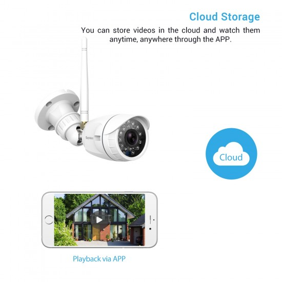Outdoor Wireless Security Camera, Septekon 1080P Home Surveillance Camera with IP66 Waterproof, Night Vision, Motion Detection, Remote Access, Compatible with Alexa-S40-2 Pack
