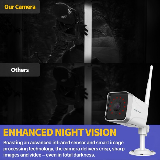 [2021 Upgraded] Security Camera Outdoor, Septekon 1080P WiFi Home Surveillance Camera, IP66 Waterproof FHD Night Vision Cameras with Motion Detection, 2-Way Audio, Cloud Storage, Work with Alexa - S50-2Pack