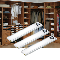 Aipolloo Under Cabinet Lighting 3-Pack - 31 LEDs Wireless Motion Sensor LED Closet Lights - USB Battery Operated Rechargeable Strip Lighting - Magnetic Kitchen Counter Light - Silver