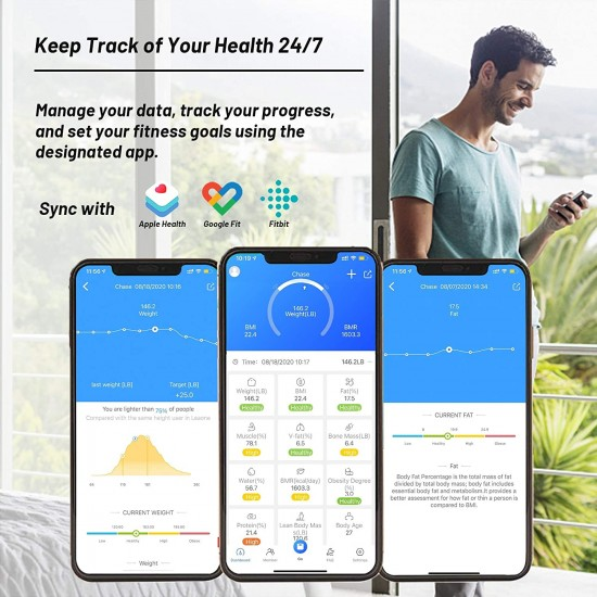 Septekon Smart Body Fat Scale - Bluetooth Weight Scale with ITO Coating - Accurate BMI Bathroom Digital Scales with Smartphone App - Body Composition Analyzer and Weighing Scale for Boy Fat Percentage